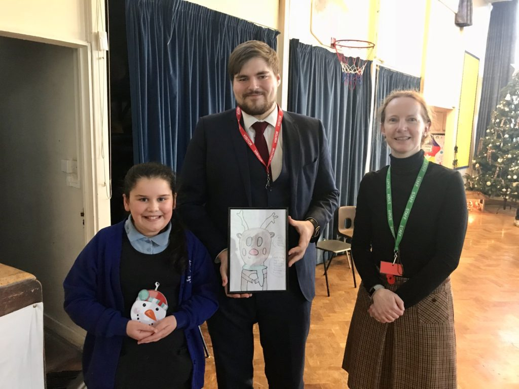 2nd place, Ruby with Thomas Martin and Emma Garibaldi (Assistant Headteacher) Sacred Heart Catholic Voluntary Academy